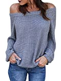 Womens Off The Shoulder Sweaters Fall Oversized Cable Knit Pullover Jumper