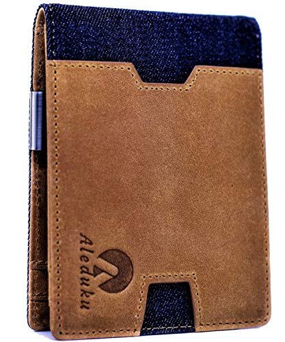 RFID Blocking Slim Bifold CANVAS and Genuine Leather Minimalist ID Window Front Pocket Wallets for Men & Women with Money Clip and Coin Pocket with Zipper