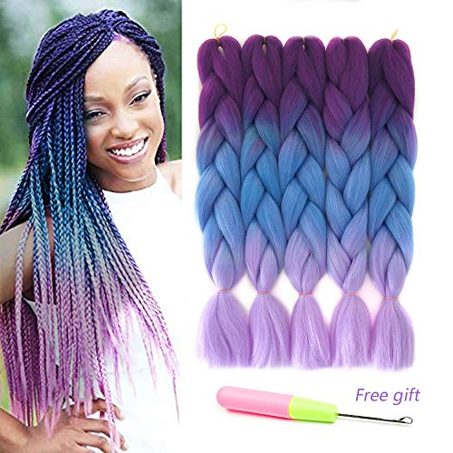 Ombre Kanekalon Braiding Hair X-pression Hair Extensions Synthetic Hair Extensions for Box Braids and Twist Braids Hair 24inch Purple Blue Pink Afro Jumbo Braiding (5Pcs/Lot 100g/pc 24inch) ()