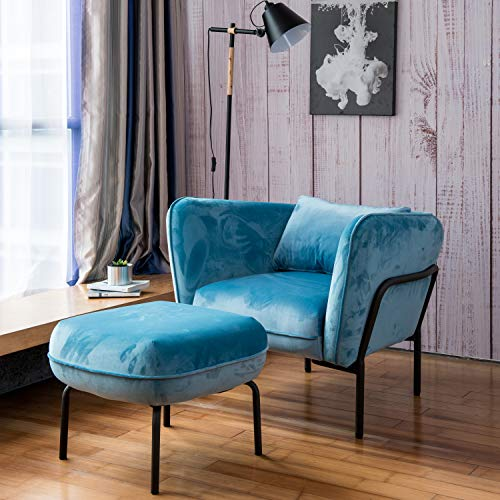 Art Leon Modern Simplicity Industrial Style Frabic Club Chair with Ottoman One Seater Velvet Fabric (Mineral Blue) Designed Furniture