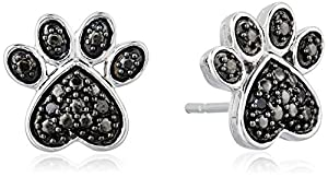 Sterling Silver Black Diamond Accent Paw Earrings