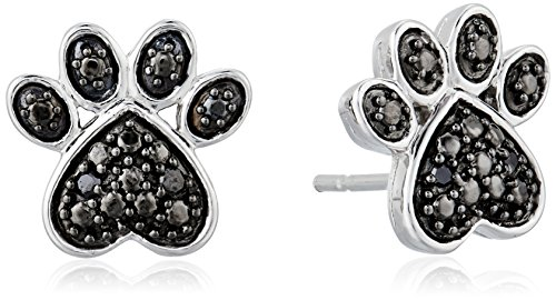 Jewelili Sterling Silver Black Diamond Accent Paw Earrings