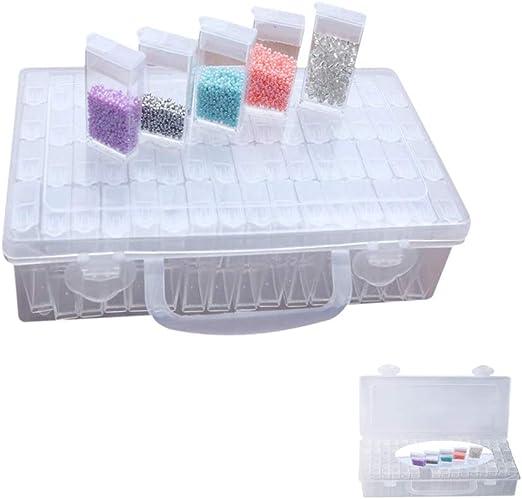 Pywee Contenedores de plástico de 64 Compartimentos en una Caja de Almacenamiento Resistente. Caja de Pintura de Diamantes Organizador de Joyas para Cuentas de Diamantes de imitación de: Amazon.es: Hogar