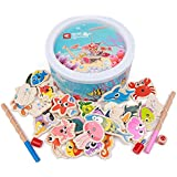 Honlese toddler Toysfishing game for kids,wooden toys board games for kids,magnetic puzzle fishing pole Wooden Ocean Animal with Alphabet