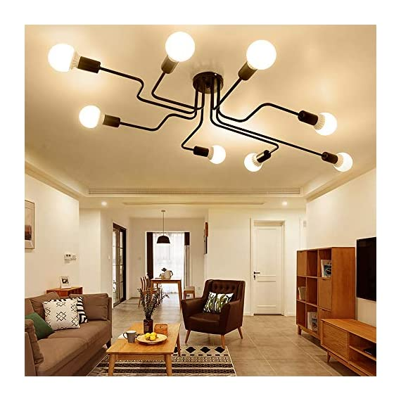 Lingkai Industrial Ceiling Light Vintage Chandelier Metal Pendant Light Creative Retro 8-Light Chandelier Lighting Fixture - ●MATERIAL & DIMENSIONS - Made of metal. Fixture Width: 27.56in (70cm). Fixture Height: 6.3in (16cm). Fixture Length: 43.31in (110cm). Canopy width: 4.72in (12cm) ●BULBS - Bulb Type: LED/CFL/Incandesce. Bulb Base: E26. Wattage Per Bulb: Max 40W. (★The Bulbs are NOT Included) ●EASY INSTALL - Includes all mounting hardware for quick and easy installation. The pendant light design will add a fashionable look, while complementing your room's decor. - kitchen-dining-room-decor, kitchen-dining-room, chandeliers-lighting - 51EFduuVcKL. SS570  -