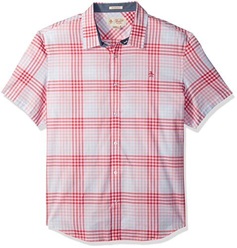 (Original Penguin Men's Short Sleeve Exploded Check in Lawn Woven Shirt, Pink Icing)