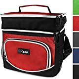 OPUX Premium Thermal Insulated Dual Compartment Lunch Bag for Men, Women | Double Deck Reusable Lunch Tote with Shoulder Strap, Soft Leakproof Liner | Medium Lunch Box for Work, Office (Red)