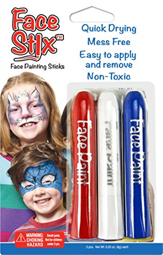 Face Paint Stix, Super Quick Drying, Non-Toxic, Set of 3 Red, White and Blue Colors by Kwik Stix
