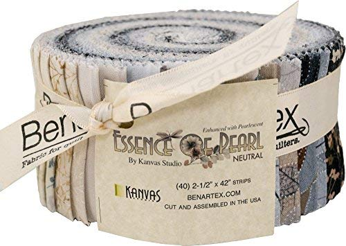 Benartex ESSENCE OF PEARL NEUTRAL Pinwheel 2.5-inch Fabric Quilting Strips Jelly Roll PWEPNPK