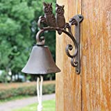 HIZLJJ Outdoor Wall-Mounted Fountains Rustic Cast Iron Love Owl Door Bell - Decorative Vintage Antique Farmhouse Style Decoration for Outside House, Garden Decoration