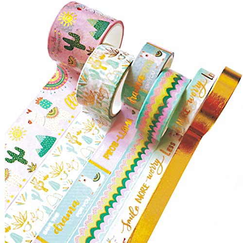 6 Rolls Washi Tape Set, Cute Gold Foil Flower Animal Plant Word Colorful Craft Tape for Home Art Scrapbook Journaling Diary Notebook Planner Decoration Handmakers DIY Supplies,Gift Wrapping
