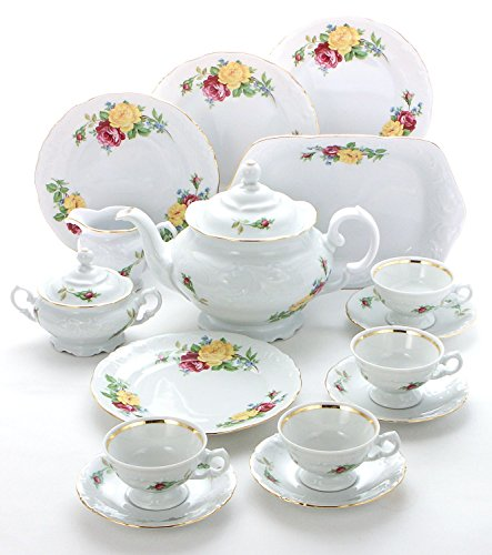 Tea With Grace 16-piece Fine China Tea Set for Children (Rose Bouquet) - Service for (Bouquet Creamer)