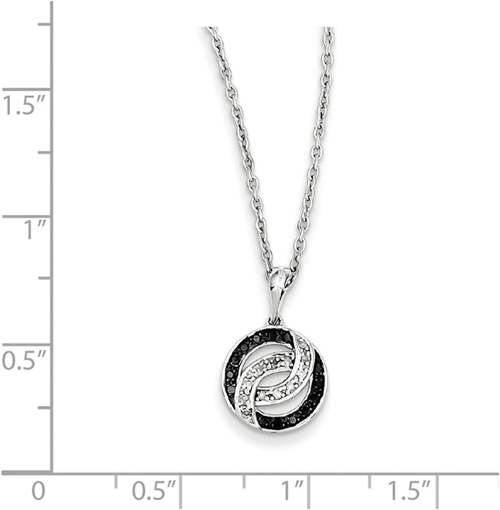 White Night Diamonds Sterling Silver Black and White Diamond Necklace One Size