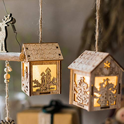 Santa Candle Fairy Wooden Carving Santa Candle Cabin Button Battery Hang Lights Led Decoration for Christmas Garland On The Window New Year