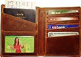 AurDo RFID Blocking Real Leather Passport Holder Cover Case & Travel Wallet for Men & Women (Oil Pull-up Dark Brown)