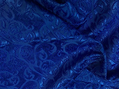 Royal Blue Hearts and Torns Design Jacquard Brocade Cotton Poly Fabric Sold by The Yard (Brocade Poly)