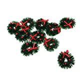 Fityle 1/12 Dolls House Mini Hanging Xmas Wreath Dollhouse Christmas Tree Decoration Garland Kids Pretend Play Toy