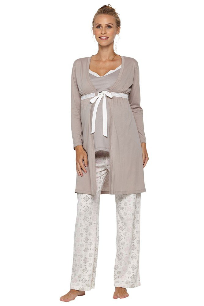 Belabumbum Starlit 3-pc. Maternity & Nursing Cami PJ & Robe Set - L