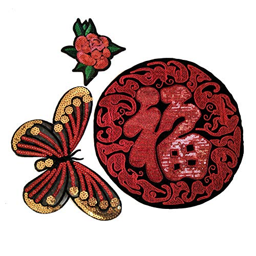 3 Pieces of Embroidery Applique Round Blessing/Butterfly/Rose Embroidery Patch Clothing Iron Patch Decals DIY Fashion Clothing Jacket(Color 3) -