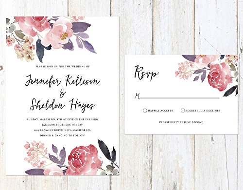 Blush and Lilac Wedding Invitation, Soft Flowers Wedding Invitation, Rustic Wedding Invitation by Alexa Nelson Prints