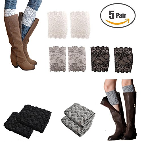 Sparklelife 5 Pairs Short Women Crochet Boot Cuffs Winter Cable Knit Leg Warmers Lace Trim Boot Cuffs Toppers Leg Warmers (5 (Boots And Tights)