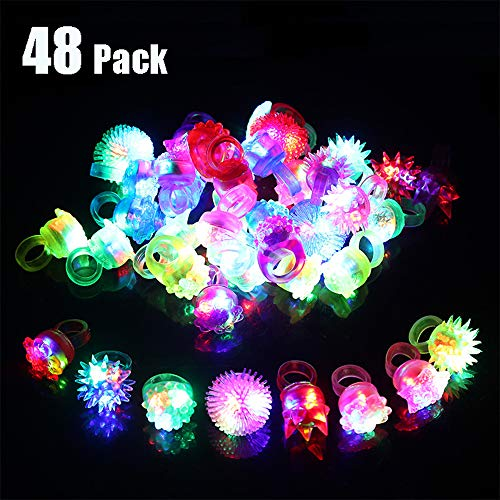 Vansufo Party Favors for Kids Prizes 48 Pack Flashing LED Jelly Light Up Rings Toys Bulk Boys Girls Gift Glow in The Dark Party Supplies, 8 Shape