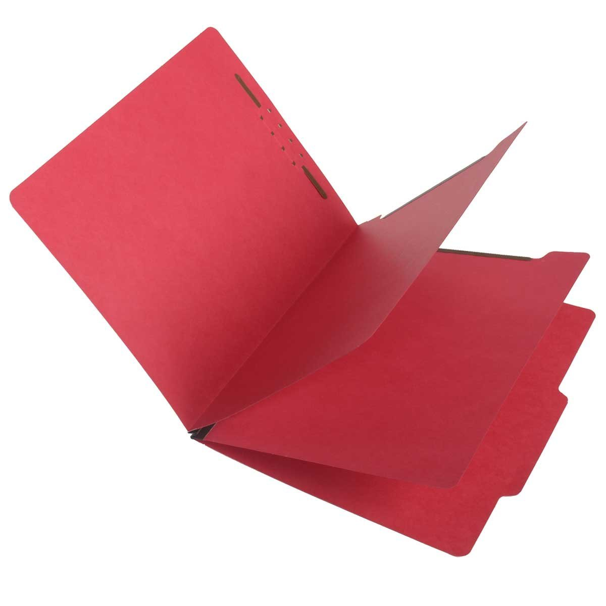 SJ Paper S59707 Match 15 Pt. Red Classification Folders, 2/5 Cut ROC Top Tab, Letter Size, 2 Dividers (Box of 25) by Ecom Folders