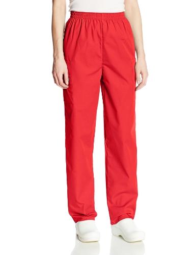 (Cherokee Women's Workwear Elastic Waist Cargo Scrubs Pant, Red, Large Petite)