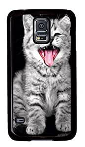 Rugged Samsung Galaxy S5 Case and Cover - Cat Yawning Custom Design PC Case Cover for Samsung Galaxy S5 - Black