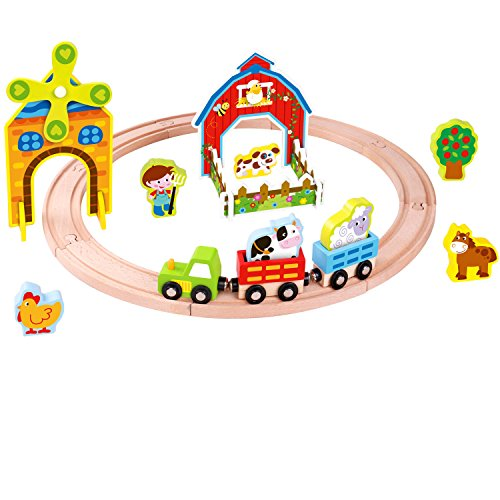 - Pidoko Kids Wooden Farm Train Set - 25 Pcs Beginner Set for Toddlers Boys and Girls - Compatible with Thomas Trains and Tracks