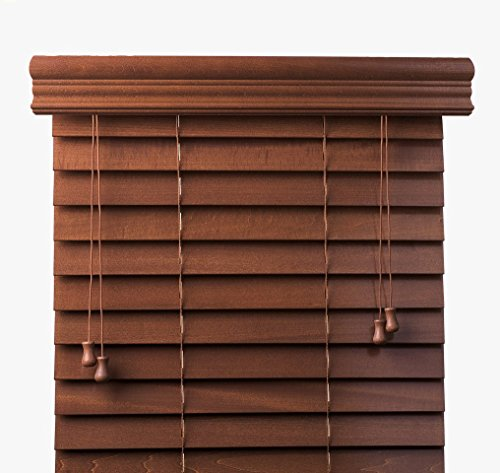 Arlo Blinds, Pecan 2-Inches Customized Real Wood Horizontal Blind - Size: 70