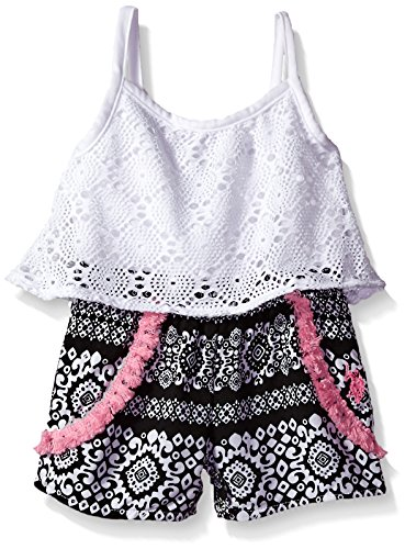(U.S. Polo Assn. Baby Girls' Flounce Top and Short Romper, Black/White 24M)