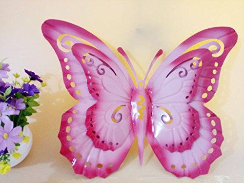 Metal Bilayer Pink Butterfly Wall Hanger Wall Art Yard Outdoor Lawn Garden Decor