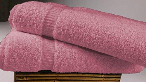 SALBAKOS Luxury Hotel & Spa Turkish Cotton 2-Piece Eco-Friendly Bath Sheet Set 35 x 70 Inch, Rose