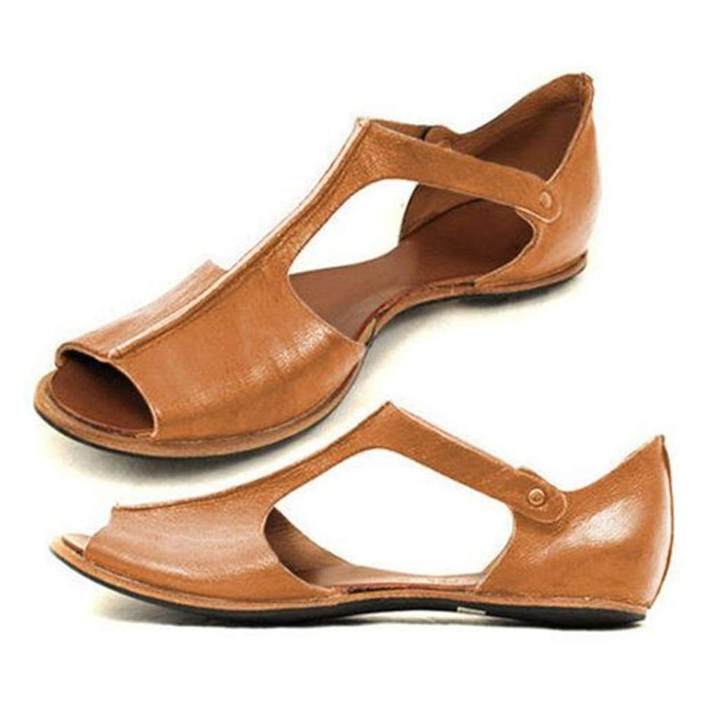 ℱLOVESOOℱ Womens Leather Sandals Retro Fish Mouth Open Toe Roman Sandals Lady Casual Flats Shallow Slip On Beach Sandals Brown by ℱLOVESOOℱ (Image #2)