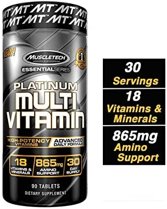 MuscleTech Advanced Daily Multivitamin for Men & Women, Includes Amino Acids, 18 Vitamins & Minerals (100% Daily Vitamins A, C, D, E, B6 & B12), 90 Count