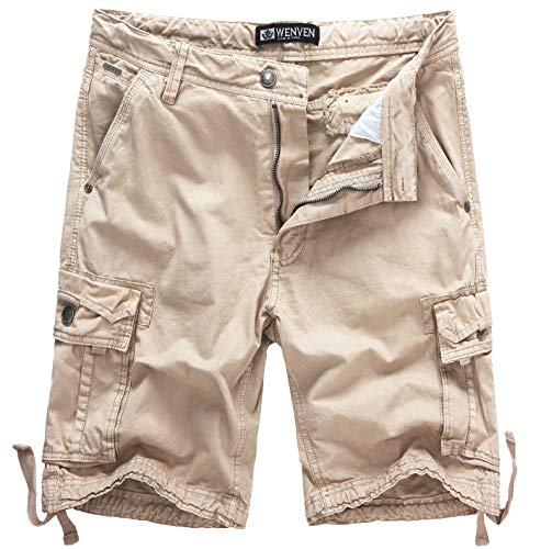 WenVen Men's Active Cargo Shorts Cotton Outdoor Wear Lightweight (WV3229 Light Khaki,42)