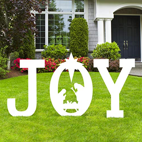 Christmas Joy Nativity Scene Yard Sign Decorations - Xmas Outdoor Lawn Decor (Assembly Needed) (Christmas Scene Nativity Outdoor Decor)