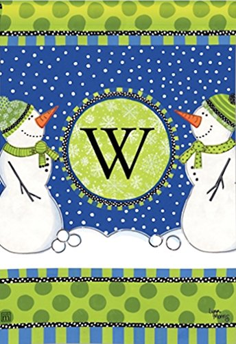 "Breeze Art Winter Frolic Monogram ""W"" Garden Flag #31269W For Sale"