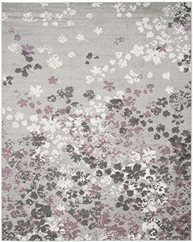 Safavieh Adirondack Collection ADR115M Light Grey and Purple Contemporary Floral Area Rug 9 x 12