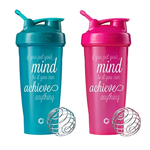 Achieve Anything Classic Blender Bottle Shaker Cup, 2- 28oz Protein Shaker (Pink and Teal 2 pk)