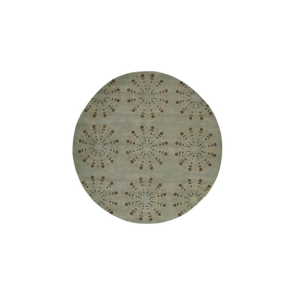 Surya Bombay BST 428 Contemporary Hand Tufted 100% New Zealand Wool Foggy Blue 8 Round Geometric Area Rug