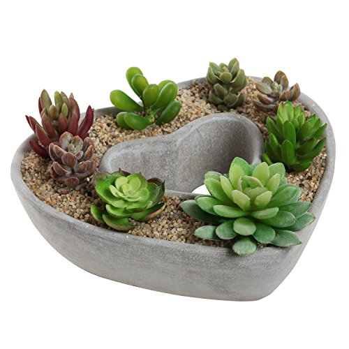 Cut Out Heart Shaped Design Gray Cement Outdoor Plant Pot...