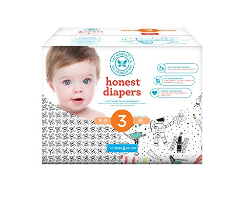 Honest Baby Diapers, Club Box, Skulls & Space Travel, Size 3, 68 Count