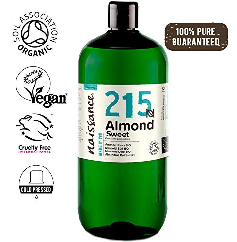 Naissance Organic Sweet Almond Oil 33.8 fl oz/ 1 L- Pure & Natural, UK Certified Organic, Cold Pressed, Vegan, Hexane Free & No GMO. Ideal for Massage, Skincare & Haircare