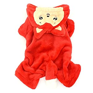 SMALLLEE_LUCKY_STORE Pet Small Dog Cat Clothes Warm Fleece Little Fox Costume Halloween Dress Up Red XL