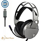 Stereo Gaming Headset for PC Mac Laptop Tablet, Bass Over-Ear Wired Computer Headphones with Mic, LED Lights and Volume Control,Crystal Clear Sound, Noise-canceling, Silver For Sale