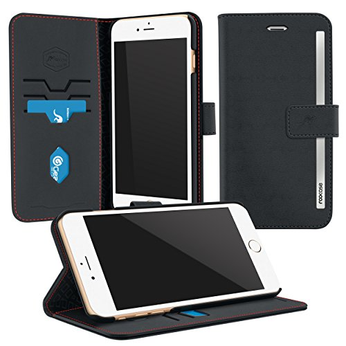 iPhone 6s Plus Case, Apple iPhone 6s Plus Wallet Case, rooCASE Prestige Leather PU Flip Wallet Case Folio Stand Lightwight Cover for Apple iPhone 6s Plus (5.5), Black