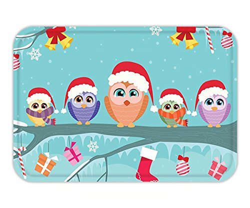 Minicoso Doormat Christmas Decorations Cute Owl Family Sitting on a Branch Like Little Magical Elves of Noel Animal Design Decor Multi (Frontgate Doormats Christmas)