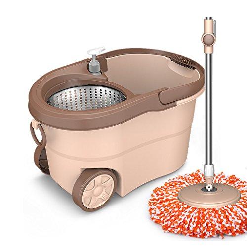 (Floor Mop 360 Degree Rotating Mop With Stainless Steel Barrel System Hand Wash Bedroom Home Wet Room Bathroom Laminate Plastic Bucket)